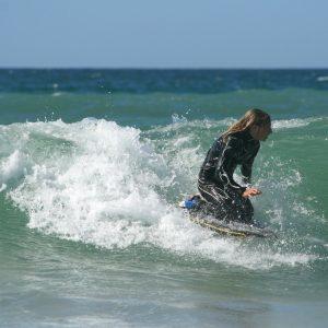 Puslentė Flood 41 crescent tail streak eps bodyboard chevron lime fluro-orange
